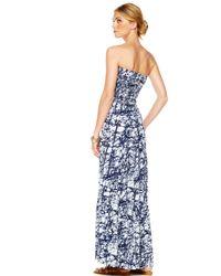 Michael Kors - Blue Strapless Maxi Dress - Lyst