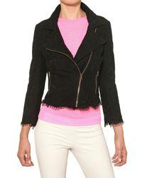 MSGM | Black Cotton Lace Biker Jacket | Lyst