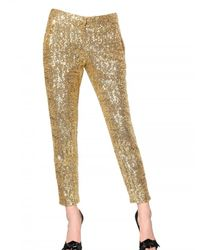 N°21 - Metallic Sequined Satin Trousers - Lyst
