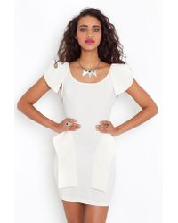 Nasty Gal - White Victoria Peplum Dress - Cream - Lyst