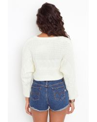 Nasty Gal - White Unif Sought Cable Knit Sweater - Lyst