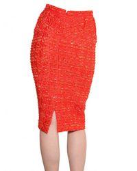 Nina Ricci   Orange Wool and Silk-blend Tweed Pencil Skirt   Lyst