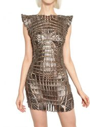 Paco Rabanne | Metallic Metal Chain and Python Insert Dress | Lyst