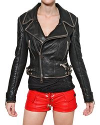Philipp Plein | Black Chain Trim Nappa Leather Jacket | Lyst