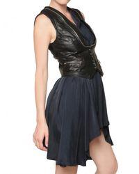 Balmain - Black Biker Leather Vest - Lyst