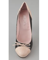 RED Valentino - Black Two Toned Patent Pumps - Lyst