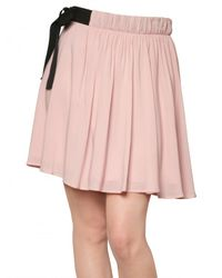 RED Valentino | Pink Flowy Crepe Bow Skirt | Lyst