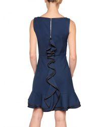 RED Valentino - Blue Structured Cady Back Ruffle Dress - Lyst