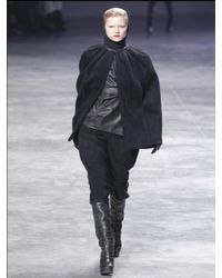 Rick Owens | Black Boiled Double Cashmere Short Cape Coat | Lyst