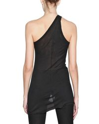 Rick Owens | Black One Sholder Ribbed Silk Viscose Tank Top | Lyst