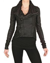 Rick Owens | Black Blister Leather Biker Jacket | Lyst