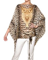 Roberto Cavalli - Multicolor Leopard Print Silk Chiffon Shirt - Lyst