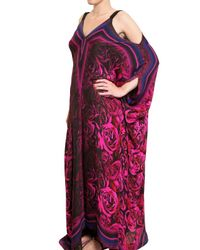 Roberto Cavalli | Multicolor Rose Print Chiffon Long Dress | Lyst