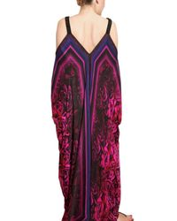 Roberto Cavalli - Multicolor Rose Print Chiffon Long Dress - Lyst