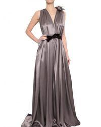 ROKSANDA - Gray Draped Silk Satin Two Tone Dress - Lyst