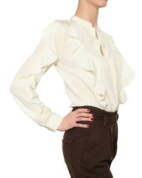 See By Chloé - Natural Crepe De Chine Ruffle Shirt - Lyst