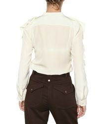 See By Chloé | Natural Crepe De Chine Ruffle Shirt | Lyst