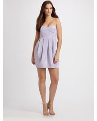 Shoshanna | Purple Strapless Mini Dress | Lyst