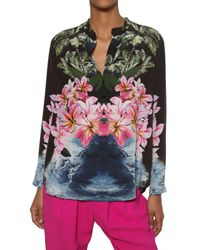 Stella McCartney | Multicolor Hibiscus Print Silk Crepe De Chine Shirt | Lyst