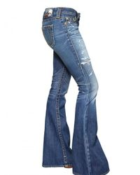 True Religion | Blue Destroyed Denim Flared Carrie Jeans | Lyst