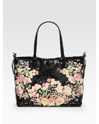 Valentino | Black Rose Chiffon & Patent Leather Medium Tote Bag | Lyst