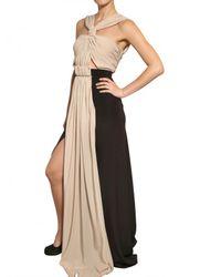 Vionnet - Black Draped Crepe De Chine Long Dress - Lyst