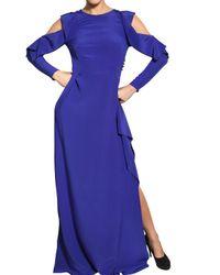 Vionnet | Blue Cut Off Crepe De Chine Long Dress | Lyst