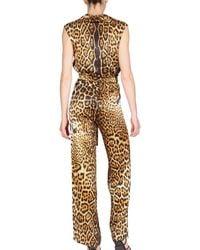 Saint Laurent - Multicolor Leopard Silk Satin Jumpsuit - Lyst