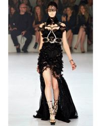 Alexander McQueen - Black Lace Viscose On Georgette Dress - Lyst