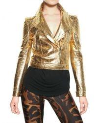 Alexander McQueen | Metallic Laminated Python Leather Jacket | Lyst