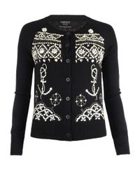 AllSaints | Black Pearly Queen Cardigan | Lyst