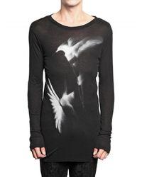Ann Demeulemeester | Black Hummingbird Ribbed Modal Jersey T-shirt for Men | Lyst