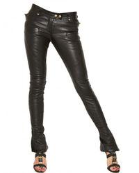 Balmain   Black Biker Stretch Nappa Leather Trousers   Lyst