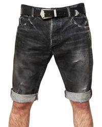 Balmain | Black Distressed Denim Shorts for Men | Lyst
