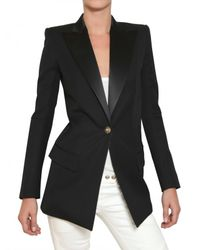 Balmain | Black Satin Peaked Lapel Cool Wool Jacket | Lyst