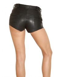 Balmain | Black Zipped Stretch Leather Shorts | Lyst