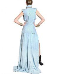 Balmain - Blue Swarovski Cotton Denim Long Dress - Lyst