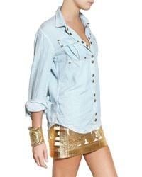Balmain | Blue Cotton Denim Shirt | Lyst