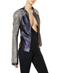 Balmain | Blue Swarovski Nappa Leather Bomber Jacket | Lyst