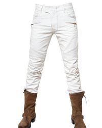 Balmain | White 18cm Biker Stained Denim Jeans for Men | Lyst