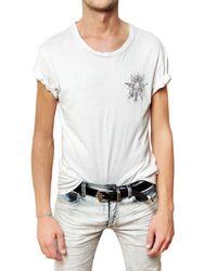 Balmain | White Distressed Cotton Jersey T-shirt for Men | Lyst