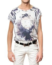 Balmain | Blue Eagle Printed Jersey T-shirt for Men | Lyst