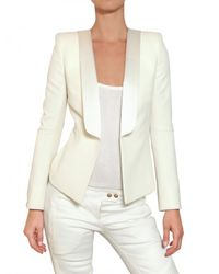 Balmain | White Satin Lapel Cool Wool Jacket | Lyst