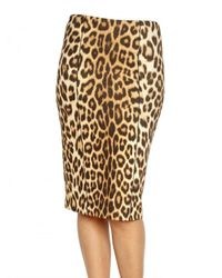 Blumarine | Multicolor Leopard Print Wool Jersey Pencil Skirt | Lyst