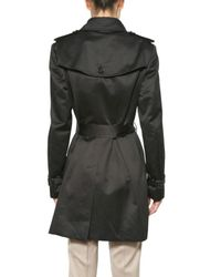 Burberry Prorsum - Black Cotton Satin Trench Coat - Lyst