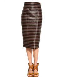 Burberry Prorsum | Brown Viscose Raffia Pencil Skirt | Lyst