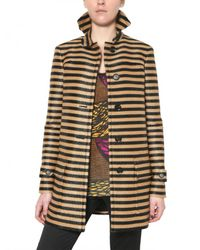 Burberry Prorsum | Black Raffia Stripe Coat | Lyst