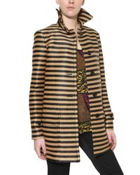 Burberry Prorsum - Black Raffia Stripe Coat - Lyst