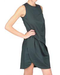 Carven - Blue Gathered Wool Gabardine Dress - Lyst