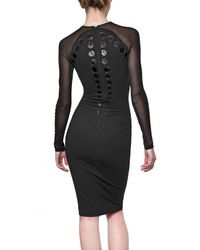 David Koma - Black Tight Fitted Long Dress in Polyester Jersey - Lyst